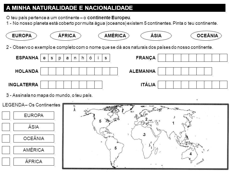 A MINHA NATURALIDADE E NACIONALIDADE LEGENDA – Os Continentes EUROPA ÁSIA OCEÂNIA AMÉRICA ÁFRICA O teu país pertence a um continente – o continente Eu