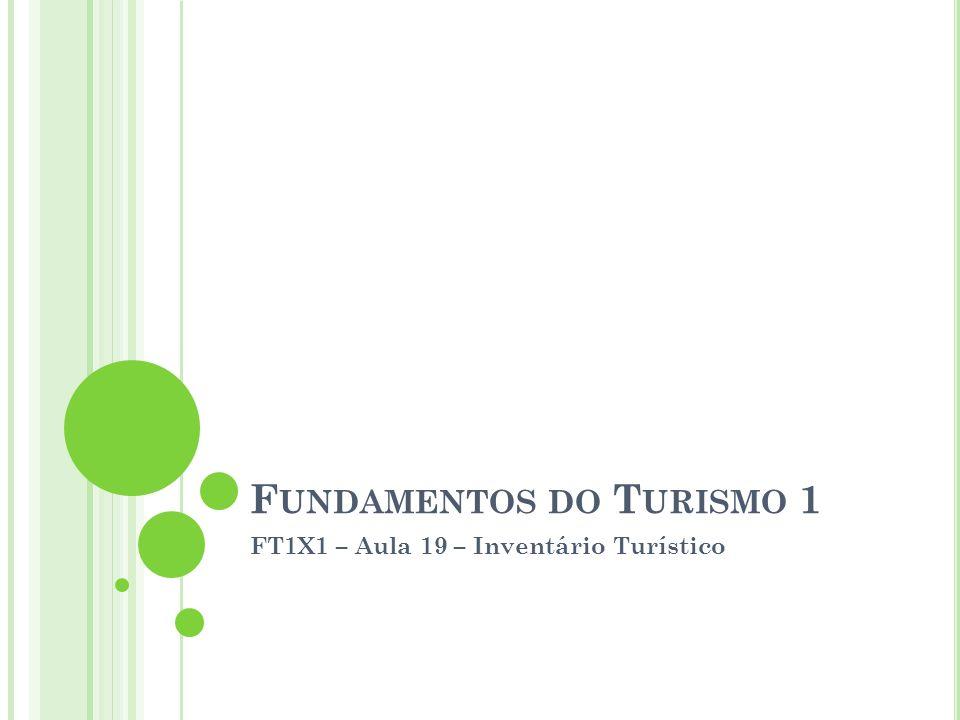 F UNDAMENTOS DO T URISMO 1 FT1X1 – Aula 19 – Inventário Turístico