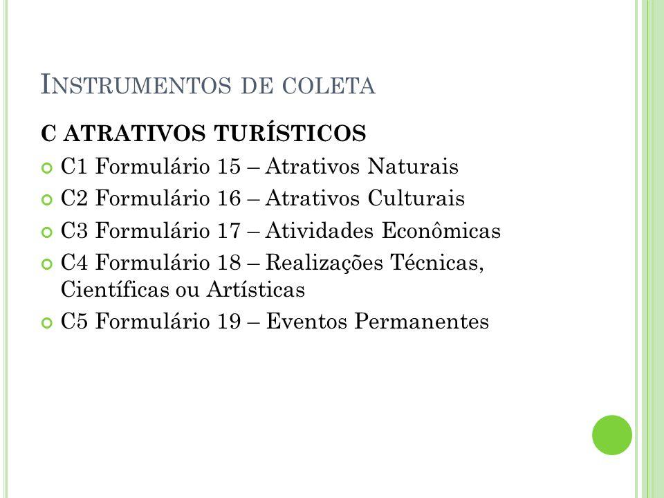 I NSTRUMENTOS DE COLETA C ATRATIVOS TURÍSTICOS C1 Formulário 15 – Atrativos Naturais C2 Formulário 16 – Atrativos Culturais C3 Formulário 17 – Ativida