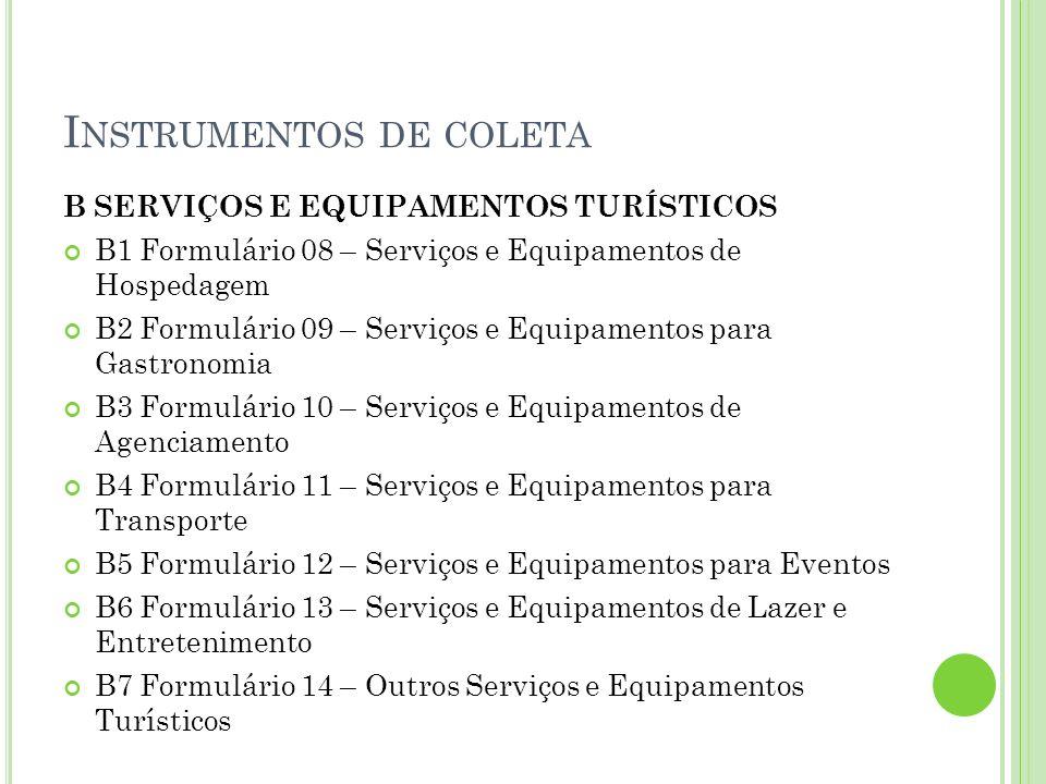 I NSTRUMENTOS DE COLETA B SERVIÇOS E EQUIPAMENTOS TURÍSTICOS B1 Formulário 08 – Serviços e Equipamentos de Hospedagem B2 Formulário 09 – Serviços e Eq
