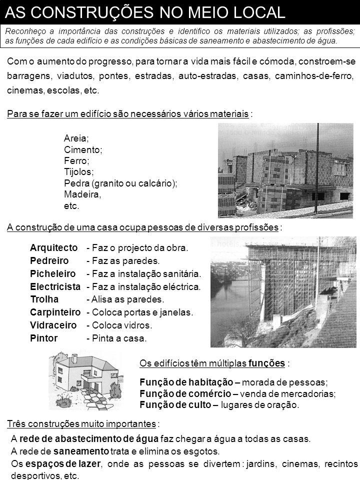 AS CONSTRUÇÕES NO MEIO LOCAL Reconheço a importância das construções e identifico os materiais utilizados; as profissões; as funções de cada edifício