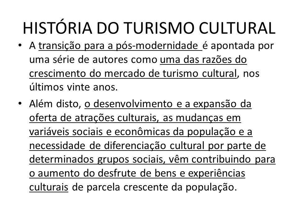 HISTÓRIA DO TURISMO CULTURAL A transição para a pós-modernidade é apontada por uma série de autores como uma das razões do crescimento do mercado de t
