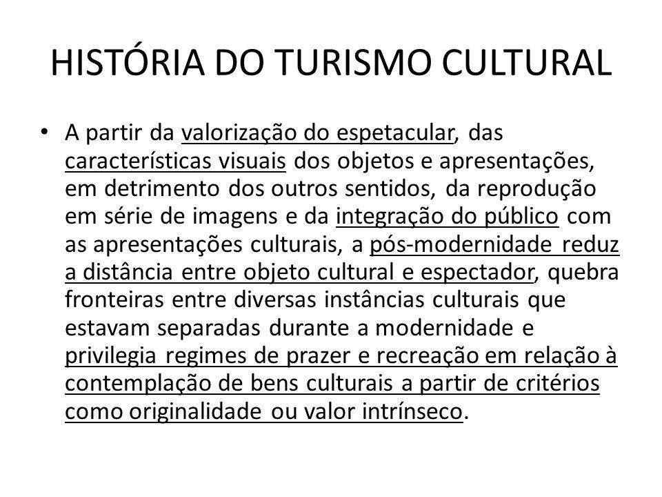 HISTÓRIA DO TURISMO CULTURAL A partir da valorização do espetacular, das características visuais dos objetos e apresentações, em detrimento dos outros