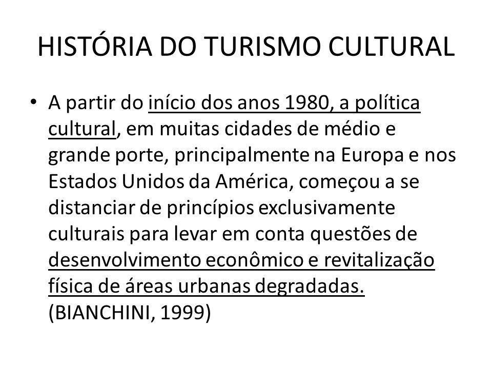 HISTÓRIA DO TURISMO CULTURAL A partir do início dos anos 1980, a política cultural, em muitas cidades de médio e grande porte, principalmente na Europ