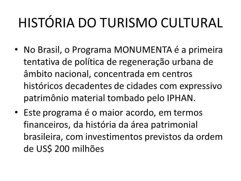 HISTÓRIA DO TURISMO CULTURAL No Brasil, o Programa MONUMENTA é a primeira tentativa de política de regeneração urbana de âmbito nacional, concentrada
