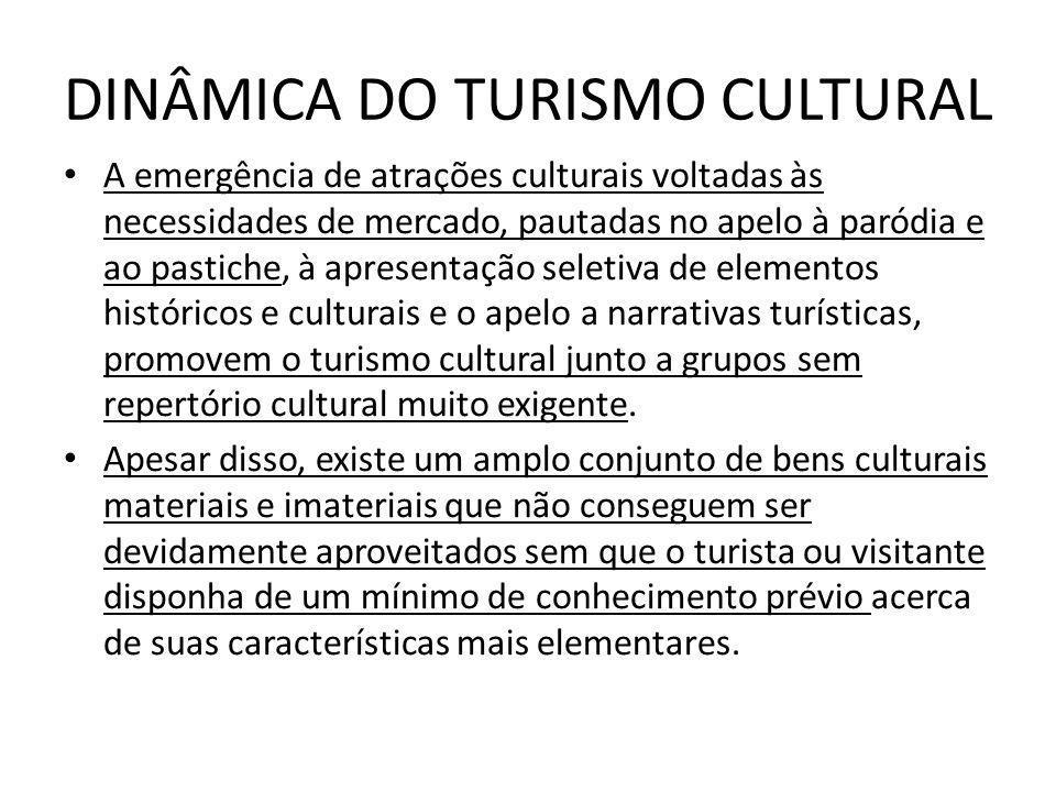 DINÂMICA DO TURISMO CULTURAL A emergência de atrações culturais voltadas às necessidades de mercado, pautadas no apelo à paródia e ao pastiche, à apre