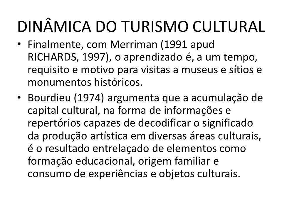 DINÂMICA DO TURISMO CULTURAL Finalmente, com Merriman (1991 apud RICHARDS, 1997), o aprendizado é, a um tempo, requisito e motivo para visitas a museu