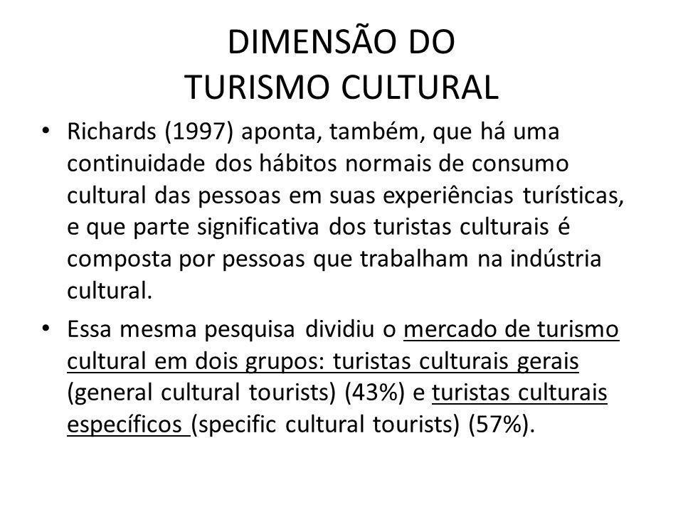 DIMENSÃO DO TURISMO CULTURAL Richards (1997) aponta, também, que há uma continuidade dos hábitos normais de consumo cultural das pessoas em suas exper