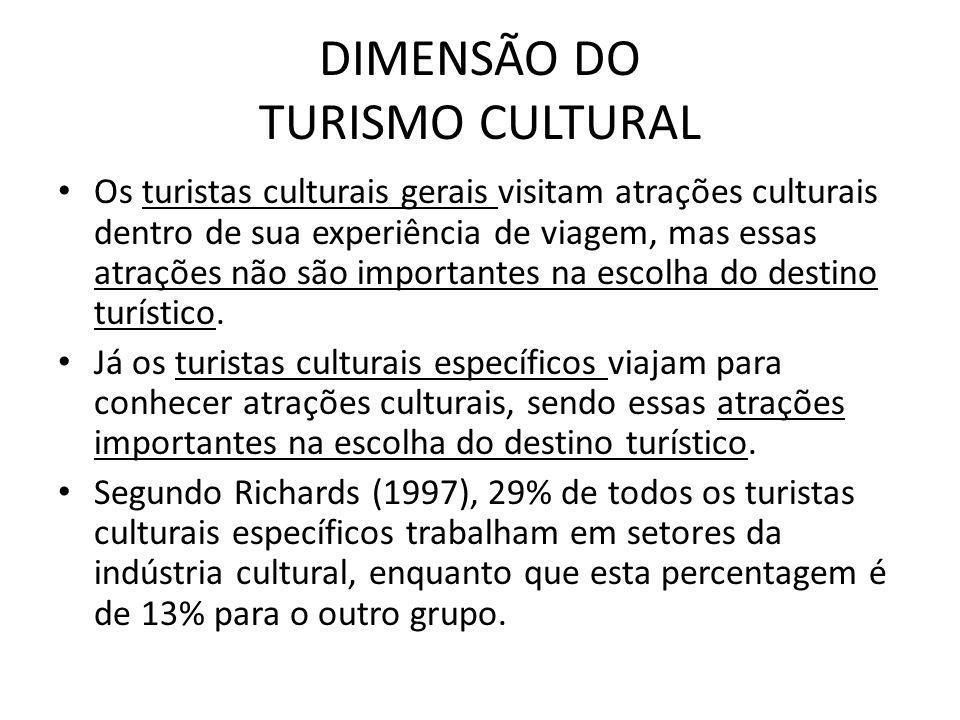 DIMENSÃO DO TURISMO CULTURAL Os turistas culturais gerais visitam atrações culturais dentro de sua experiência de viagem, mas essas atrações não são i
