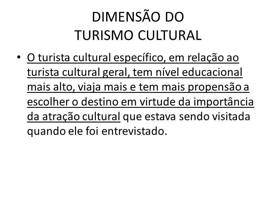 DIMENSÃO DO TURISMO CULTURAL O turista cultural específico, em relação ao turista cultural geral, tem nível educacional mais alto, viaja mais e tem ma
