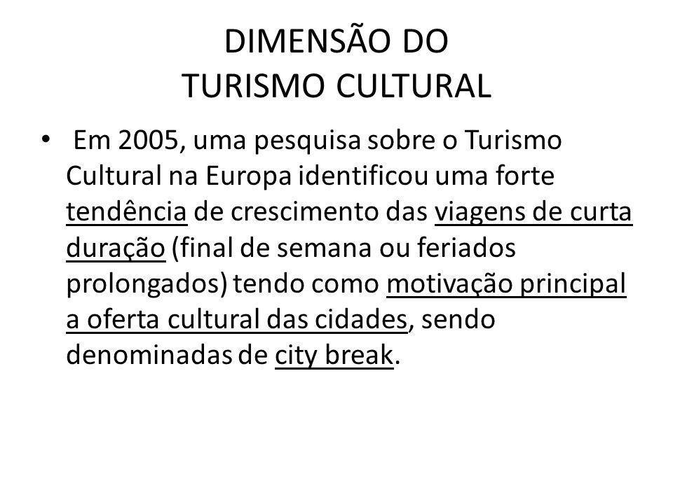 DIMENSÃO DO TURISMO CULTURAL Em 2005, uma pesquisa sobre o Turismo Cultural na Europa identificou uma forte tendência de crescimento das viagens de cu