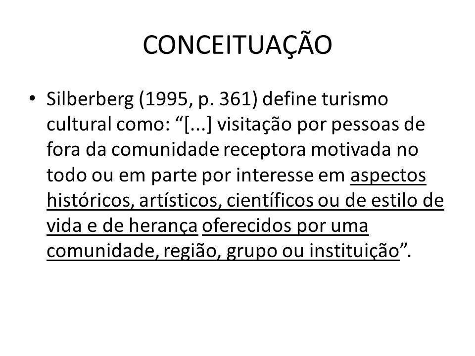 CONCEITUAÇÃO Silberberg (1995, p. 361) define turismo cultural como: [...] visitação por pessoas de fora da comunidade receptora motivada no todo ou e