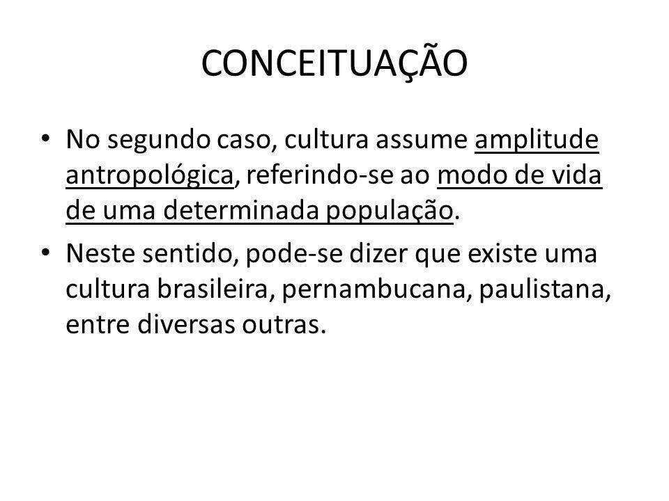 CONCEITUAÇÃO No segundo caso, cultura assume amplitude antropológica, referindo-se ao modo de vida de uma determinada população. Neste sentido, pode-s
