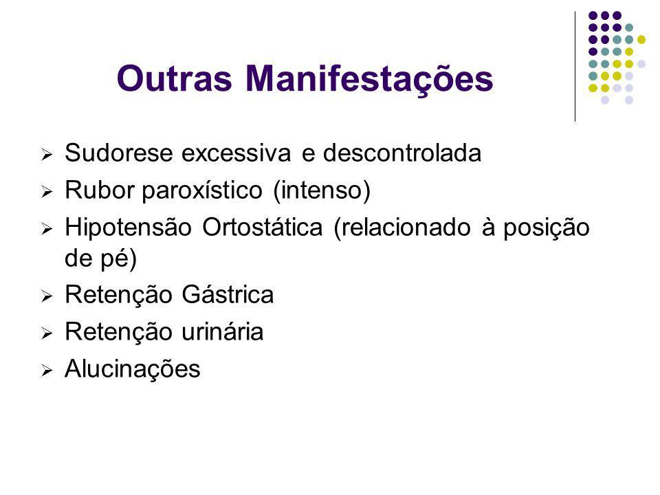 Outras Manifestações Sudorese excessiva e descontrolada Rubor paroxístico (intenso) Hipotensão Ortostática (relacionado à posição de pé) Retenção Gást