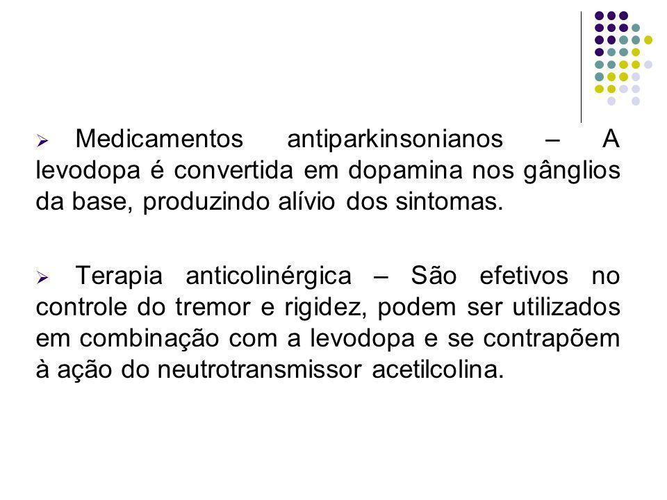 Medicamentos antiparkinsonianos – A levodopa é convertida em dopamina nos gânglios da base, produzindo alívio dos sintomas. Terapia anticolinérgica –
