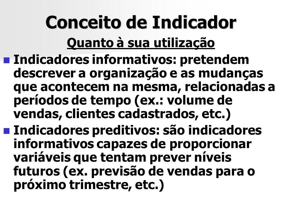 Conceito de Indicador Quanto à sua utilização Indicadores informativos: pretendem descrever a organização e as mudanças que acontecem na mesma, relaci
