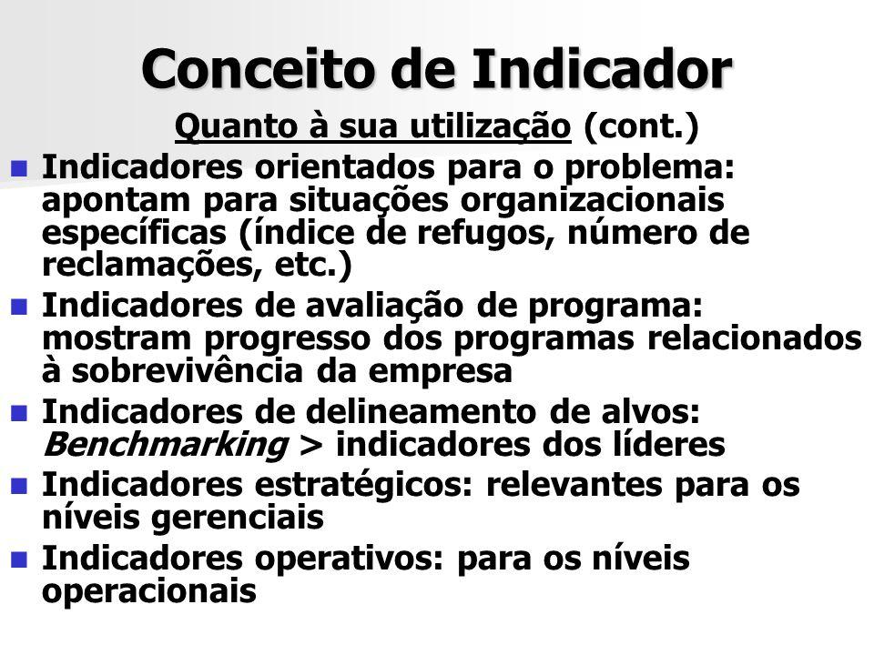Conceito de Indicador Quanto à sua utilização (cont.) Indicadores orientados para o problema: apontam para situações organizacionais específicas (índi