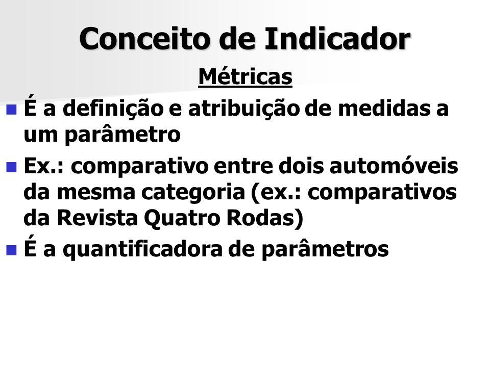 Conceito de Indicador Métricas É a definição e atribuição de medidas a um parâmetro Ex.: comparativo entre dois automóveis da mesma categoria (ex.: co