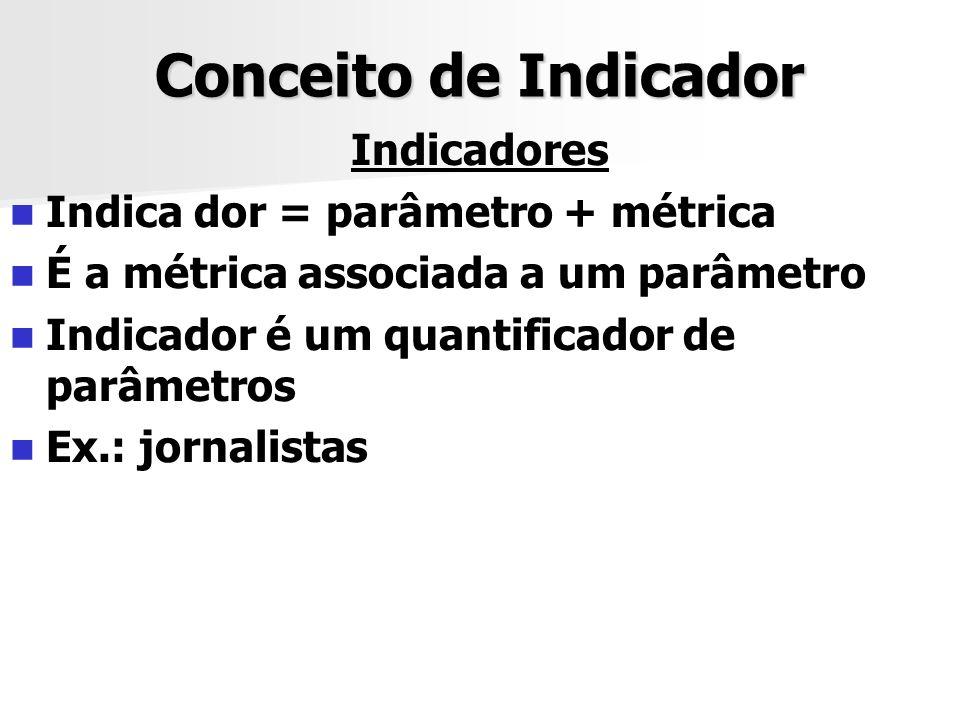 Conceito de Indicador Indicadores Indica dor = parâmetro + métrica É a métrica associada a um parâmetro Indicador é um quantificador de parâmetros Ex.