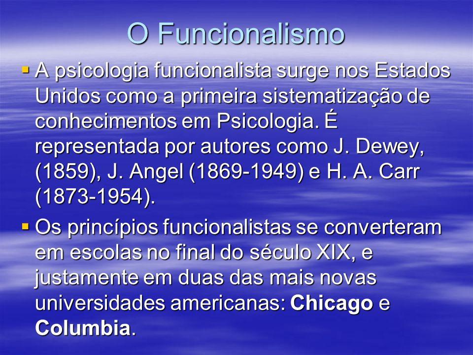 O Funcionalismo A psicologia funcionalista surge nos Estados Unidos como a primeira sistematização de conhecimentos em Psicologia. É representada por