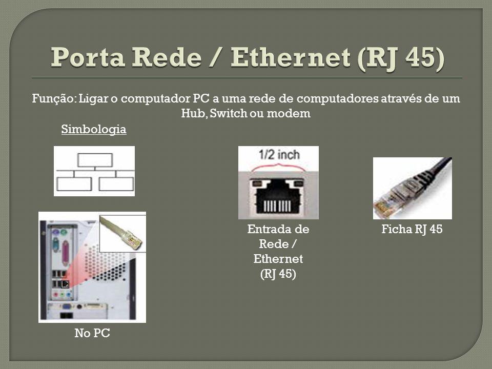 Entrada de Rede / Ethernet (RJ 45) Ficha RJ 45 No PC Simbologia Função: Ligar o computador PC a uma rede de computadores através de um Hub, Switch ou