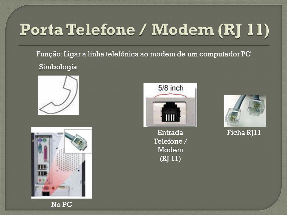 Entrada Telefone / Modem (RJ 11) Ficha RJ11 Simbologia No PC Função: Ligar a linha telefónica ao modem de um computador PC