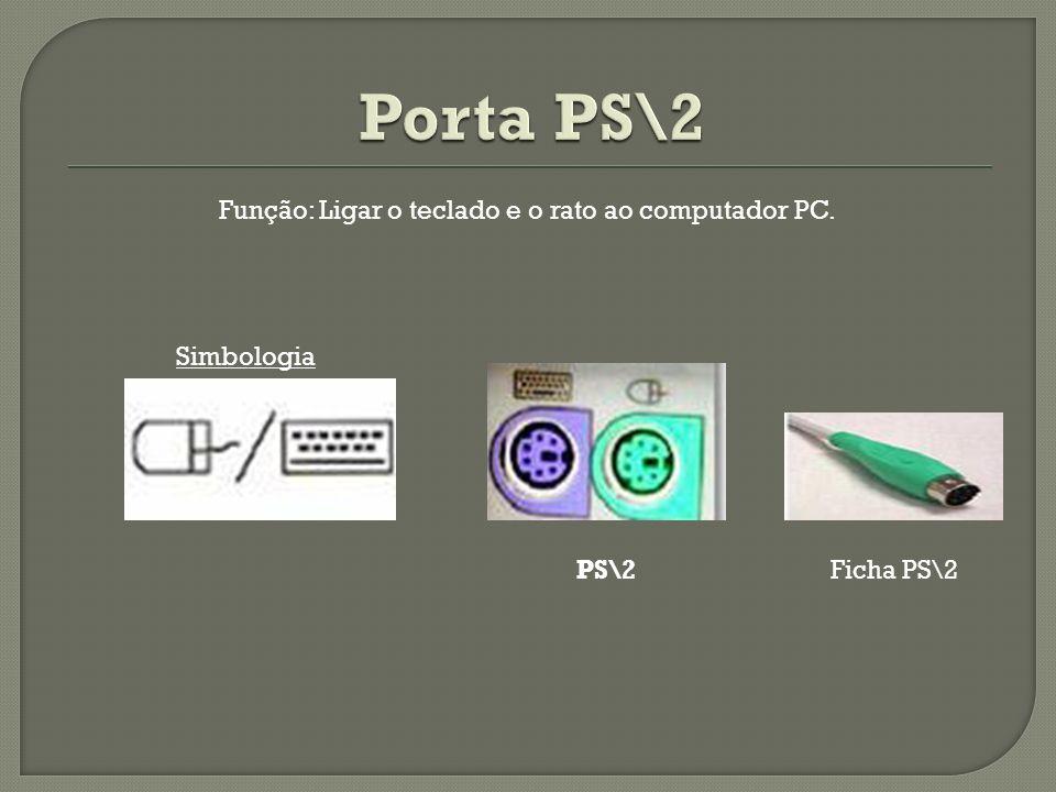 Simbologia Função: Ligar o teclado e o rato ao computador PC. PS\2Ficha PS\2
