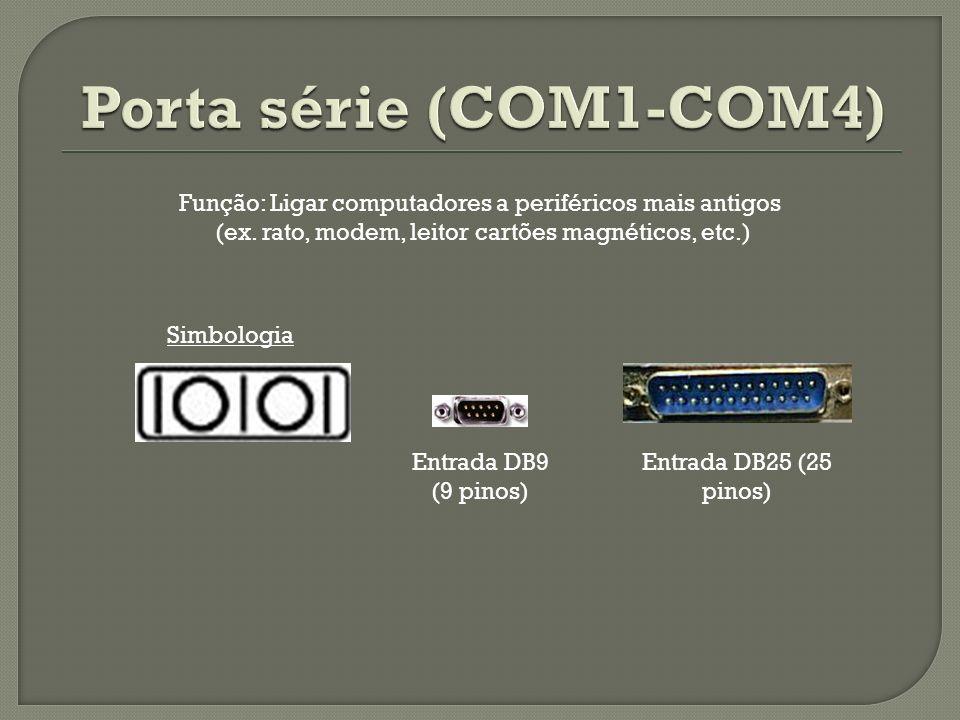 Simbologia Entrada DB25 (25 pinos) Entrada DB9 (9 pinos) Função: Ligar computadores a periféricos mais antigos (ex. rato, modem, leitor cartões magnét