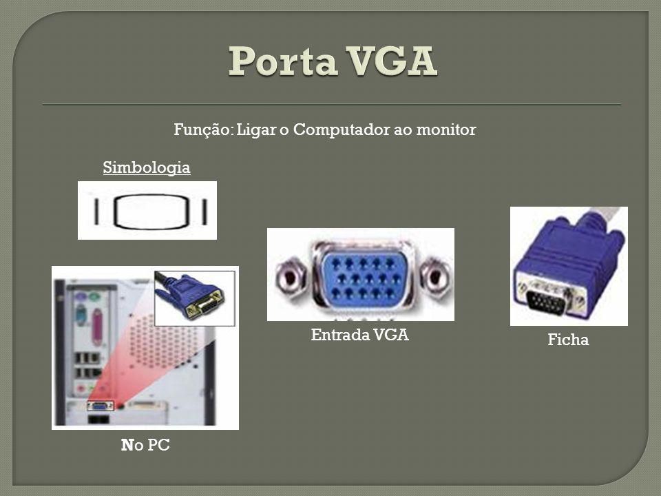 Simbologia Entrada VGA No PC Ficha Função: Ligar o Computador ao monitor