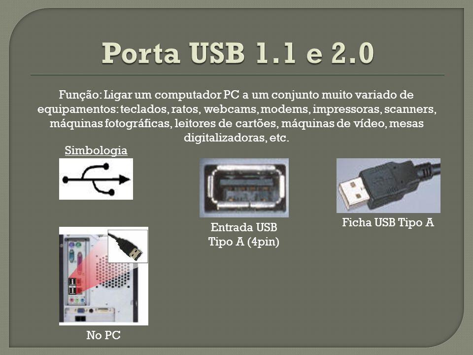 Entrada USB Tipo A (4pin) Ficha USB Tipo A Simbologia No PC Função: Ligar um computador PC a um conjunto muito variado de equipamentos: teclados, rato