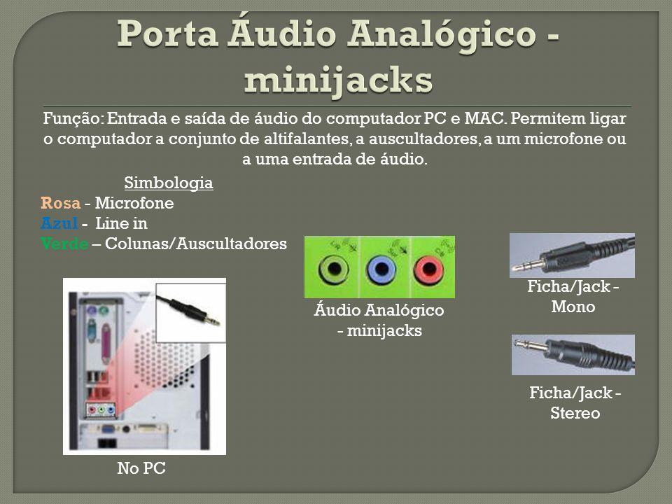 Simbologia Rosa - Microfone Azul - Line in Verde – Colunas/Auscultadores Áudio Analógico - minijacks Ficha/Jack - Mono Ficha/Jack - Stereo No PC Funçã