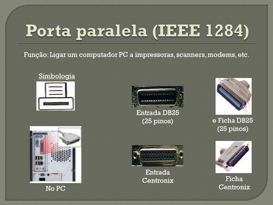 Entrada DB25 (25 pinos) e Ficha DB25 (25 pinos) Entrada Centronix Ficha Centronix No PC Simbologia Função: Ligar um computador PC a impressoras, scann