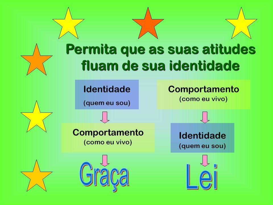 Permita que as suas atitudes fluam de sua identidade Identidade (quem eu sou) Identidade (quem eu sou) Comportamento (como eu vivo)