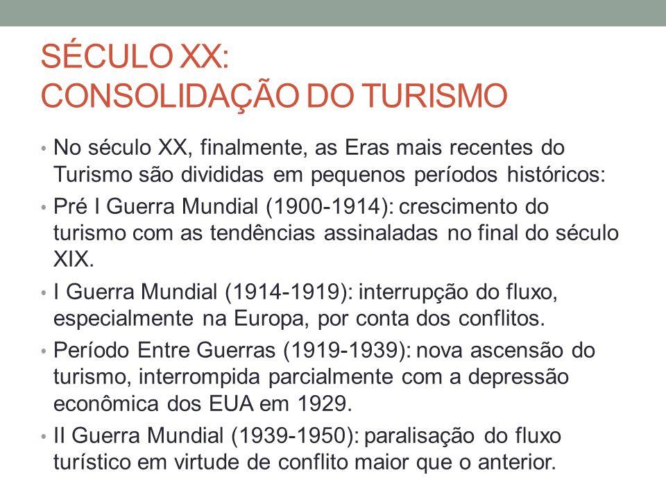 SÉCULO XX: CONSOLIDAÇÃO DO TURISMO No século XX, finalmente, as Eras mais recentes do Turismo são divididas em pequenos períodos históricos: Pré I Gue