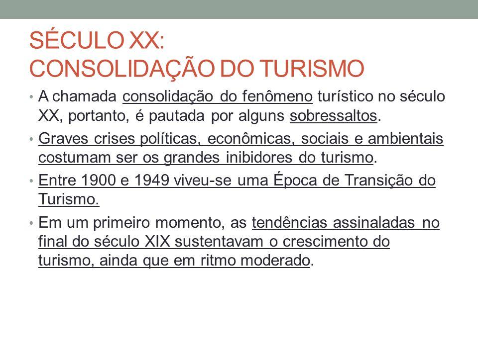 SÉCULO XX: CONSOLIDAÇÃO DO TURISMO A chamada consolidação do fenômeno turístico no século XX, portanto, é pautada por alguns sobressaltos. Graves cris