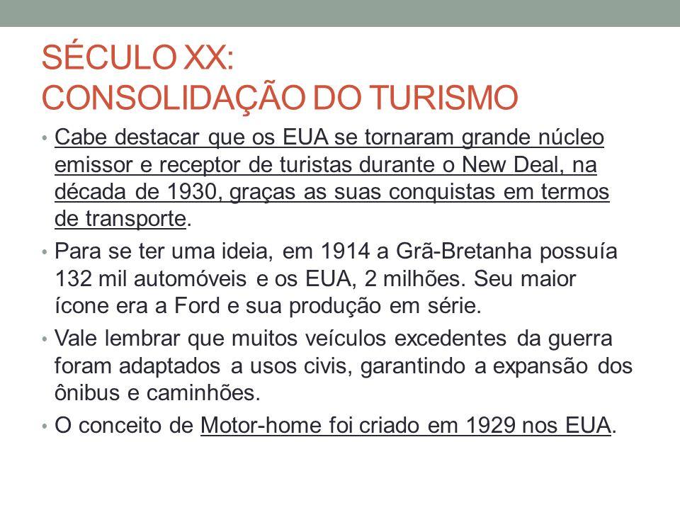 SÉCULO XX: CONSOLIDAÇÃO DO TURISMO Cabe destacar que os EUA se tornaram grande núcleo emissor e receptor de turistas durante o New Deal, na década de 1930, graças as suas conquistas em termos de transporte.