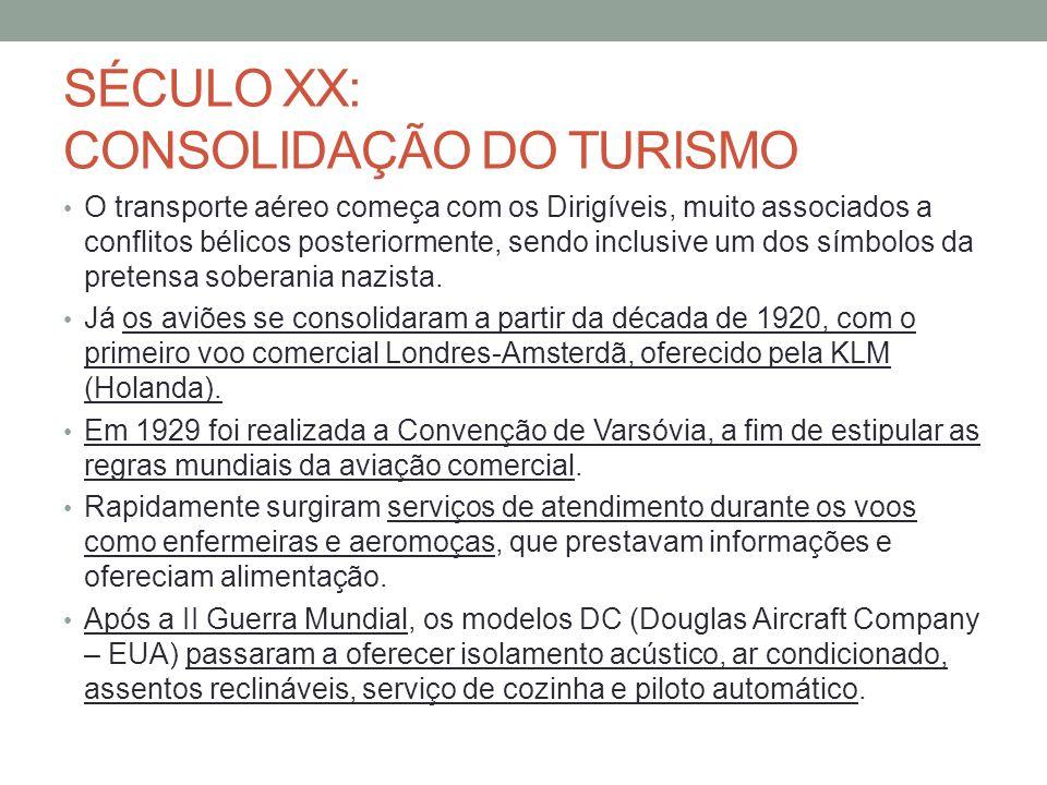 SÉCULO XX: CONSOLIDAÇÃO DO TURISMO O transporte aéreo começa com os Dirigíveis, muito associados a conflitos bélicos posteriormente, sendo inclusive u