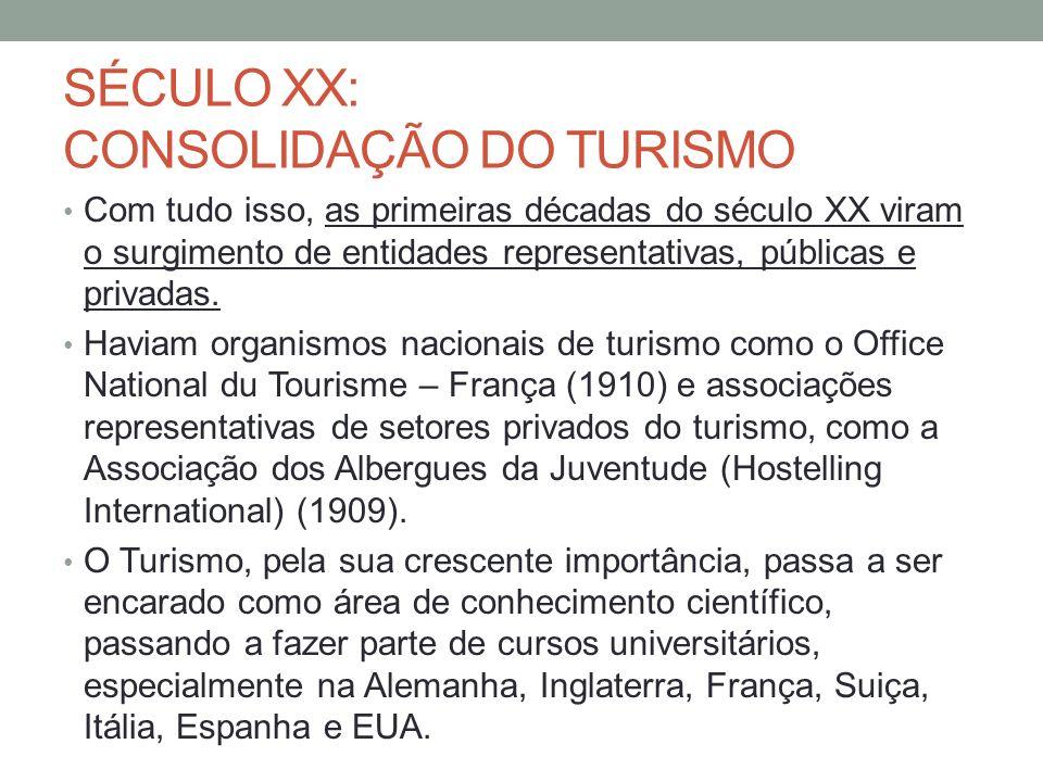 SÉCULO XX: CONSOLIDAÇÃO DO TURISMO Com tudo isso, as primeiras décadas do século XX viram o surgimento de entidades representativas, públicas e privad