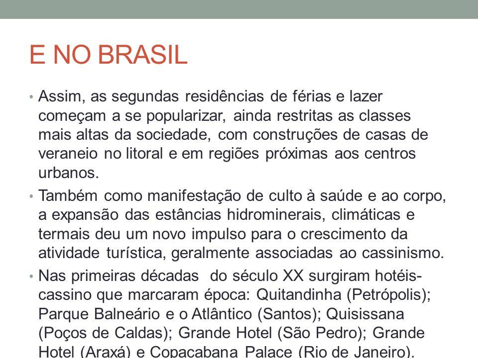 E NO BRASIL Assim, as segundas residências de férias e lazer começam a se popularizar, ainda restritas as classes mais altas da sociedade, com construções de casas de veraneio no litoral e em regiões próximas aos centros urbanos.