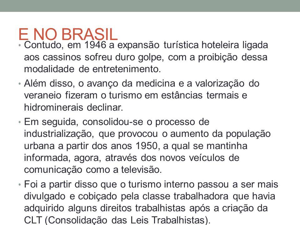 E NO BRASIL Contudo, em 1946 a expansão turística hoteleira ligada aos cassinos sofreu duro golpe, com a proibição dessa modalidade de entretenimento.