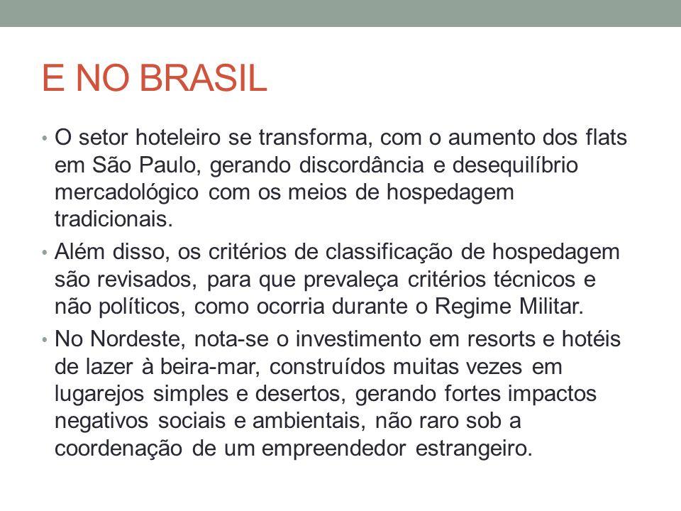 E NO BRASIL O setor hoteleiro se transforma, com o aumento dos flats em São Paulo, gerando discordância e desequilíbrio mercadológico com os meios de hospedagem tradicionais.