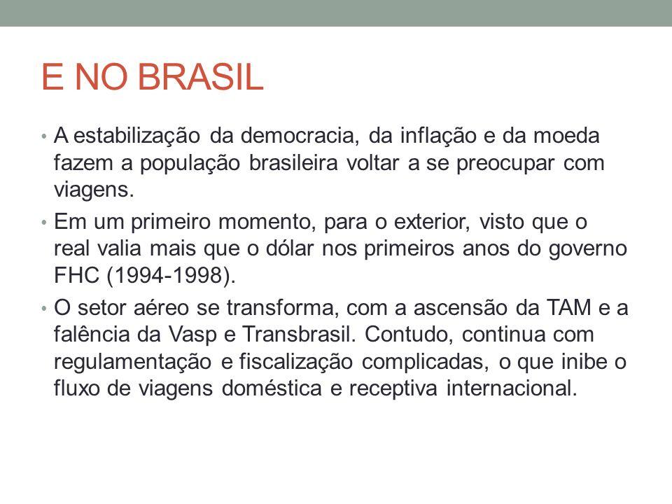 E NO BRASIL A estabilização da democracia, da inflação e da moeda fazem a população brasileira voltar a se preocupar com viagens. Em um primeiro momen