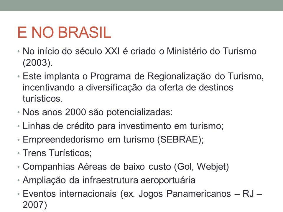 E NO BRASIL No início do século XXI é criado o Ministério do Turismo (2003). Este implanta o Programa de Regionalização do Turismo, incentivando a div