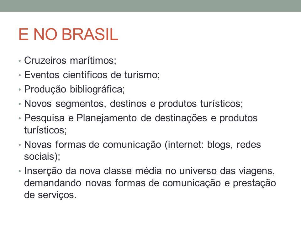 E NO BRASIL Cruzeiros marítimos; Eventos científicos de turismo; Produção bibliográfica; Novos segmentos, destinos e produtos turísticos; Pesquisa e P