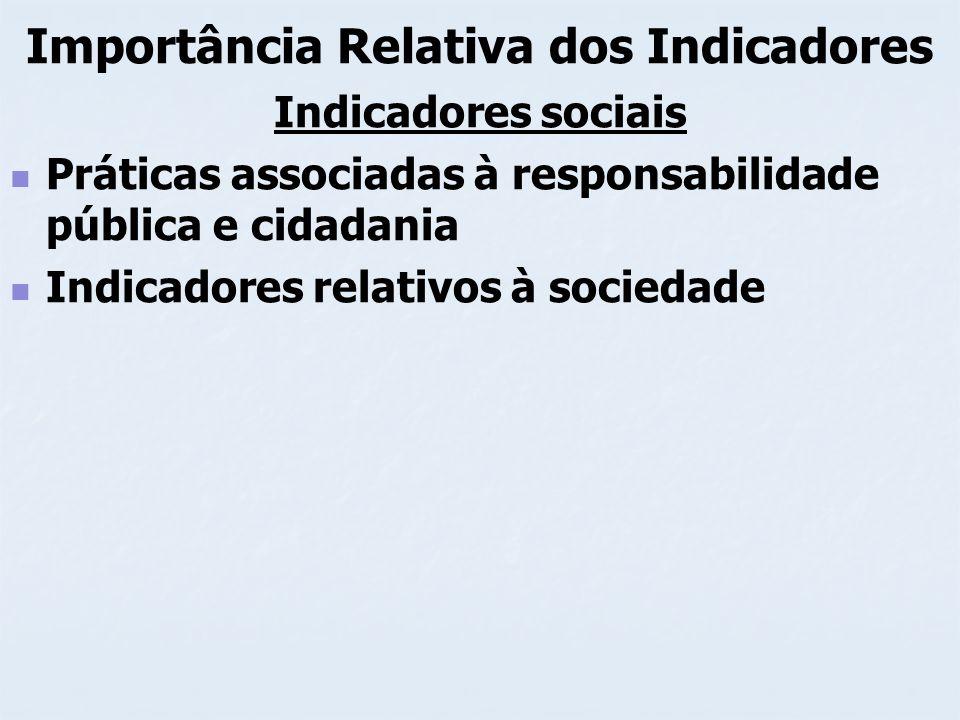 Importância Relativa dos Indicadores Indicadores sociais Práticas associadas à responsabilidade pública e cidadania Indicadores relativos à sociedade