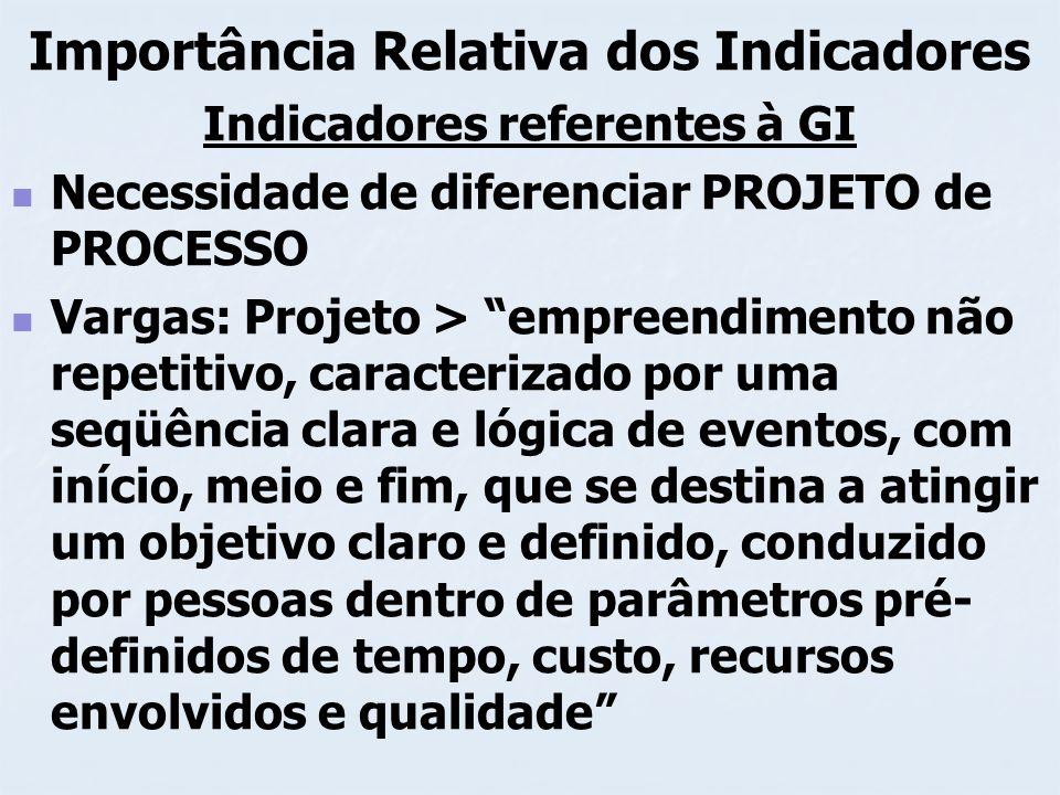 Importância Relativa dos Indicadores Indicadores referentes à GI Necessidade de diferenciar PROJETO de PROCESSO Vargas: Projeto > empreendimento não r