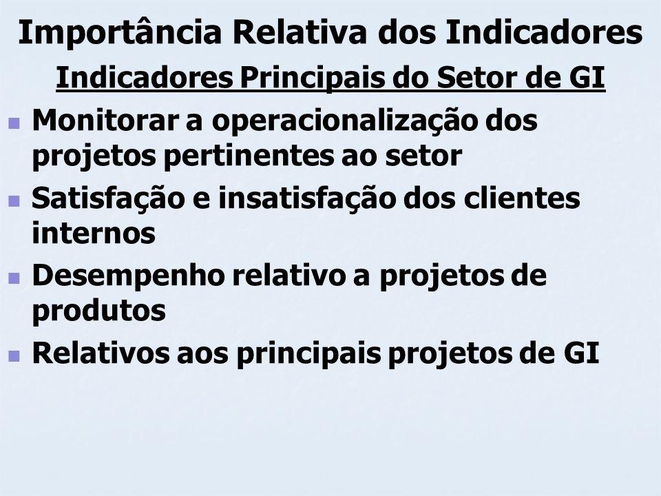 Importância Relativa dos Indicadores Indicadores Principais do Setor de GI Monitorar a operacionalização dos projetos pertinentes ao setor Satisfação