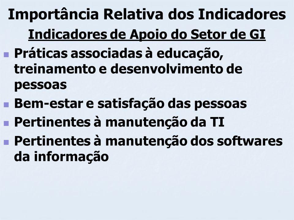 Importância Relativa dos Indicadores Indicadores de Apoio do Setor de GI Práticas associadas à educação, treinamento e desenvolvimento de pessoas Bem-