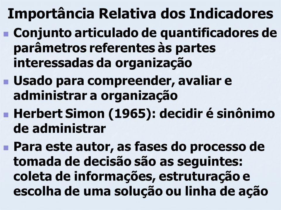 Importância Relativa dos Indicadores Mostra a relevância dos indicadores mas para quais informações.