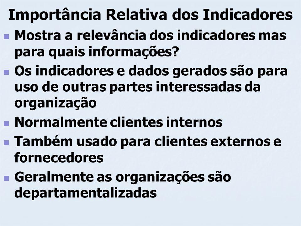 Importância Relativa dos Indicadores Processos Seqüência clara e lógica de etapas ou ações sistemáticas que geram determinado resultado São geralmente padronizados
